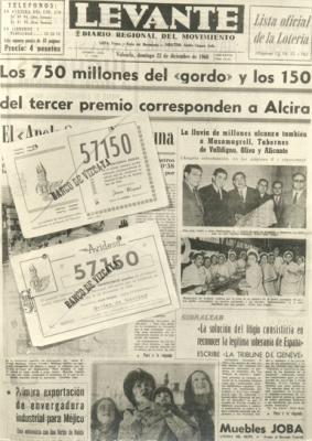GALERÍA DE FOTOS DE ALZIRA (8) __ HACE 39 AÑOS SALIÓ EL GORDO DE LA LOTERÍA DE NAVIDAD EN ALZIRA. MAÑANA PODRÍA REPETIRSE EL ACONTECIMIENTO