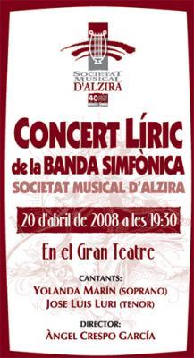 LA SOCIETAT MUSICAL D' ALZIRA CELEBRA UN CONCIERTO DE ÓPERA Y ZARZUELA