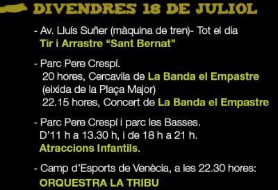PROGRAMACIÓ FESTES SANT BERNAT DIVENDRES 18 DE JULIOL