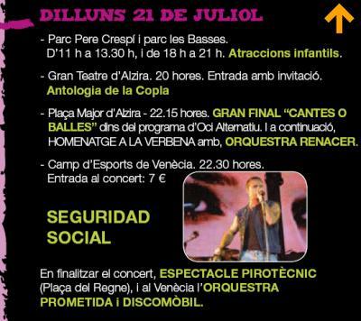 PROGRAMACIÓ FESTES SANT BERNAT DILLUNS 21 DE JULIOL