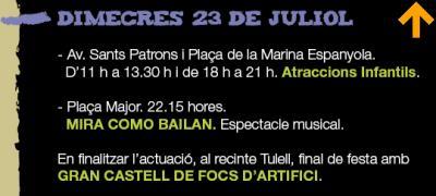 PROGRAMACIÓ FESTES SANT BERNAT DIMECRES 23 DE JULIOL