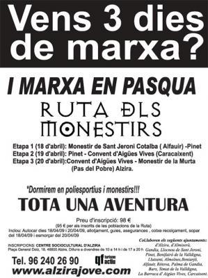 EL CENTRE SOCICULTURAL D'ALZIRA ORGANITZA LA RUTA DELS MONESTIRS PER ALS DIES 18, 19 I 20 D'ABRIL